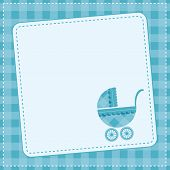 stock photo of buggy  - Baby boy announcement card with baby buggy - JPG