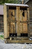 stock photo of outhouses  - Outhouse with two sides - JPG
