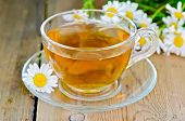 picture of chamomile  - Herbal tea in a glass cup fresh chamomile flowers on a background of wooden boards - JPG