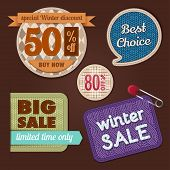 stock photo of knitwear  - Set of winter sale labels - JPG