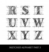 picture of hand alphabet  - architectural sketched letters set 1 - JPG