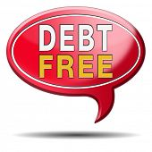 stock photo of debt free  - debt free zone or tax reduction today relief of taxes having good credit financial success paying debts for financial freedom - JPG