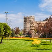 stock photo of constantinople  - Remnants of the ancient walls of Constantinople in present - JPG