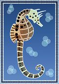 stock photo of aborigines  - A illustration based on aboriginal style of dot painting depicting Seahorse - JPG