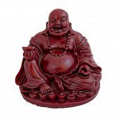 stock photo of siddhartha  - Statuette of smiling sitting Buddha isolated on white - JPG