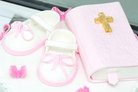stock photo of christening  - Christening cake decoration  - JPG