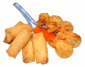 Crispy Chinese Wontons And Spring Rolls