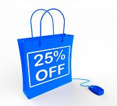 Twenty-five Percent Off Bag Shows 25 Reductions In Price