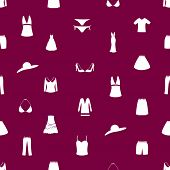 stock photo of womens panties  - womens clothing icon seamless modern pattern eps10 - JPG