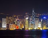 Hong Kong Skyline At Night With Laser Beams