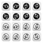 Pointing hand - up, down, across round icon vector