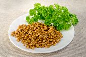 sprouted grains and parsley