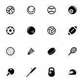 picture of cricket ball  - Vector black sport icons set on white background - JPG