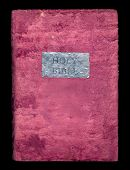Holy Bible In A Soft Velvet Cover Isolated On Black Background