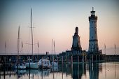 Lighthouse in Lindau at Lake Constance, Germany