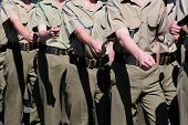 stock photo of army cadets  - Young armed forces cadets / soldiers marching