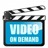 detailed illustration of a clapper board with Video on Demand writing, eps10 vector