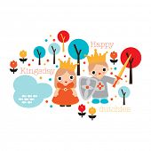 image of prince charming  - Happy dutch day of the king Holland kingsday theme illustration print with princess and crown in vector - JPG