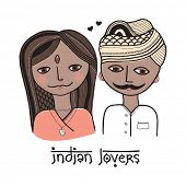 picture of hamsa  - Two lovers from India design hand drawn girl and boy with mustache illustration in vector - JPG