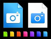 Camera Icons on Colorful Paper Document Collection