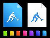 Hockey Icons on Colorful Paper Document Collection