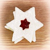 stock photo of linzer  - Linzer cookie with strawberry jam - JPG