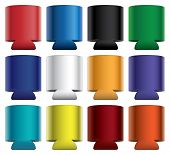 stock photo of collapse  - Illustration of blank collapsible koozie with aluminum can in twelve different colors - JPG