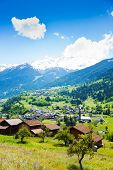 Traditional countryside near Alps in summer