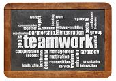teamwork word cloud on a vintage blackboard isolated on white