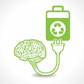 pic of right brain  - creative brain Idea symbol charged by a eco battery stock vector - JPG