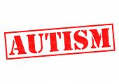 pic of aspergers  - AUTISM red Rubber Stamp over a white background - JPG