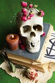 Skull on old book, candle and dry roses  on color wooden background