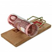 stock photo of mouse trap  - Ten Euro banknote in mouse trap isolated on white - JPG