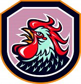 pic of cockerels  - Illustration of a rooster cockerel head crowing facing side set inside shield crest shape done in retro style on isolated background - JPG