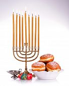 Festive composition for Hanukkah isolated on white