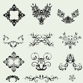 Vector Set Of Decorative Floral Elements...