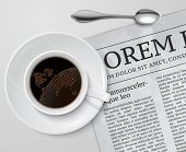 Постер, плакат: Coffee cup on newspaper