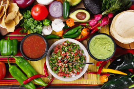 picture of jalapeno  - Stock image of traditional mexican food salsas and ingredients - JPG