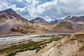 stock photo of himachal pradesh  - View of Spiti valley and Spiti river in Himalayas - JPG
