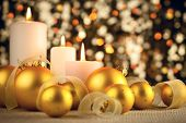pic of weihnachten  - Warm Christmas glitter bokeh background with candles - JPG