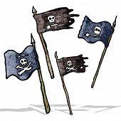 image of pirate flag  - cartoon pirate flags - JPG
