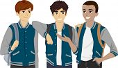 stock photo of pre-adolescents  - Illustration Featuring a Group of Male Teenagers Wearing Varsity Jackets - JPG