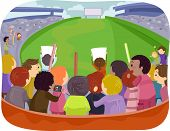 image of bleachers  - Illustration Featuring a Game Arena with Sports Fans Cheering From the Bleachers - JPG