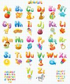 image of alphabet  - Funny Alphabet with pictures for children  - JPG