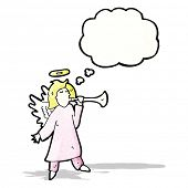 image of angel-trumpet  - cartoon angel blowing trumpet - JPG