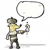 picture of beret  - cartoon dog wearing beret and smoking - JPG