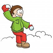 stock photo of snowball-fight  - boy throwing snowball cartoon illustration - JPG