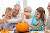 stock photo of happy halloween  - family - JPG