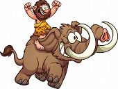 stock photo of mammoth  - Caveman riding a mammoth - JPG