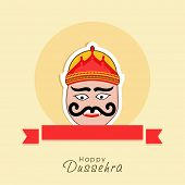 stock photo of ravana  - Illustration of Ravana face with big eyes and moustache and with a red label below - JPG